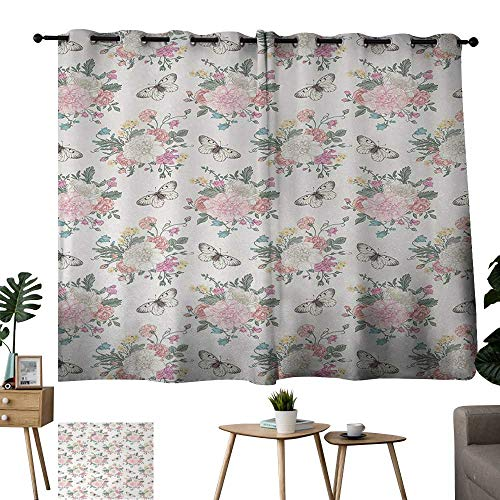 Warm Family Eclipse Curtains Shabby Chic,Peonies Sweet Peas Roses Bouquet and Butterflies Pastel Tones Bridal Theme,Soft Pink Green 72