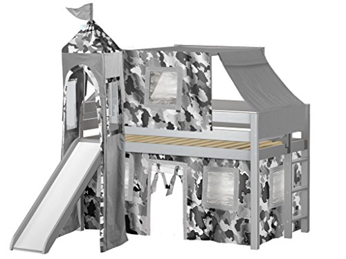 - JACKPOT! Castle Low Loft Bed with Slide Gray Camo Tent and Tower, Loft Bed, Twin, Gray