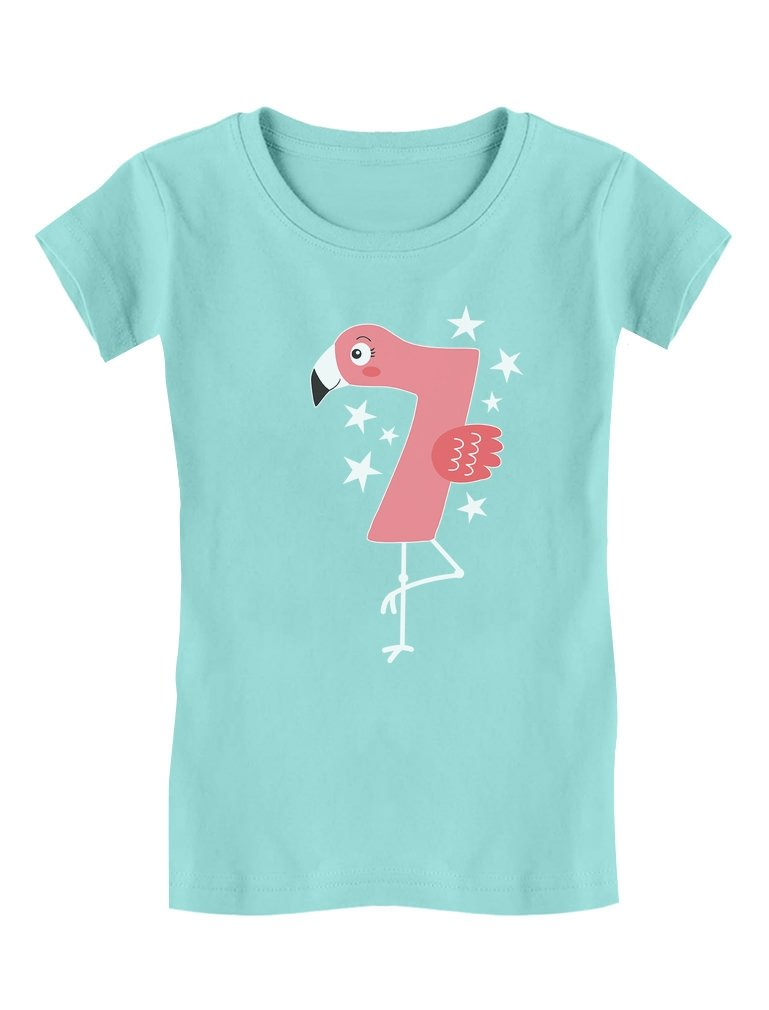 Flamingo 7th Birthday Gift for Seven Year Old Girls' Fitted Kids T-Shirt M (7/8) Chill Blue