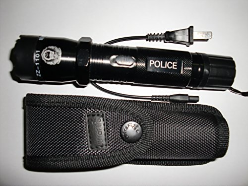 New Police Stun Gun and Rechargeable LED Flashlight BLACK StunGun Flash Light Combo