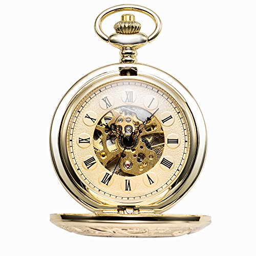 TREEWETO Antique Mens Pocket Watch Skeleton Mechanical Half Hunter Golden Case Roman Numerals by TREEWETO (Image #1)