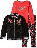 Betsey Johnson Toddler Girls' 3 Pc Floral Velvet Jacket Set, Black, 3T