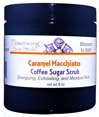Flowersong Caramel Macchiato Coffee Sugar Scrub - Energizing, Exfoliating, and Moisture Rich -