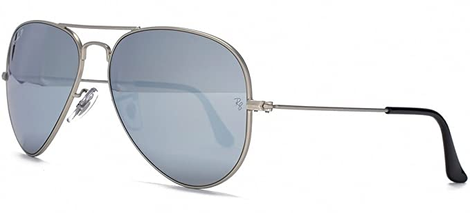 ray ban aviator classic polarized  Amazon.com: Ray-Ban AVIATOR MIRROR 58mm Silver w/ Polarized Grey ...