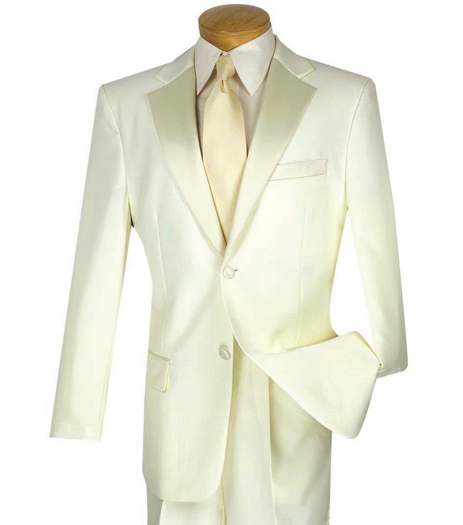 Lucci Men's 2 Button Classic-Fit Formal Polyester Tuxedo Suit w/ Sateen Lapel & Trim [Color: Ivory | Size: 52 Regular / 47 Waist]