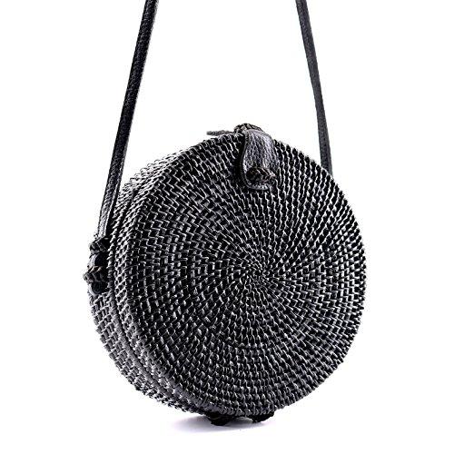 ute Chic Handwoven Round Straw Rattan Bamboo Weave Shoulder Leather Straps Beach Button Snap Closure Crossbody Handbag Bag (Round Straw Rattan Bag Black) ()
