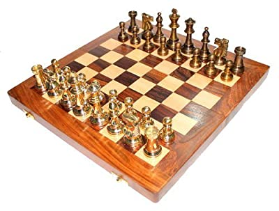 "StonKraft 14"" X 14 Collectible Wooden Folding Chess Game Board Set+ Brass Staunton Figure Pieces."