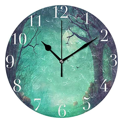 Dozili Halloween Spooky Forest Dead Trees Pumpkins Round Wall Clock Arabic Numerals Design Non Ticking Wall Clock Large for Bedrooms,Living -