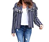 KLJR Womens Casual Slim Fit Tassel Color Block Coat Open Front Jacket Blue US S