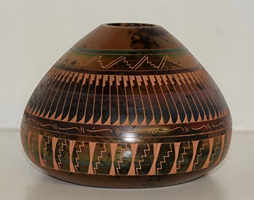 Colorful Hand Etched Horse Hair Decorative Pottery