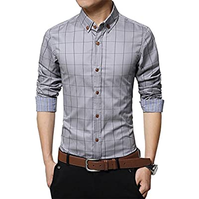 Malavita Men's Long Sleeve Plaid Slim Fit Casual Snap Buttons Plaid Dress Shirts