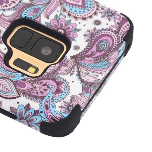 Kaleidio Case for Samsung Galaxy S9 G960 [TUFF] Rugged Armor 3-Piece [Shock/Impact Protection] Dual Layer Hybrid Rubber Cover [Includes a Overbrawn Prying Tool] [Blue & Purple Paisley]