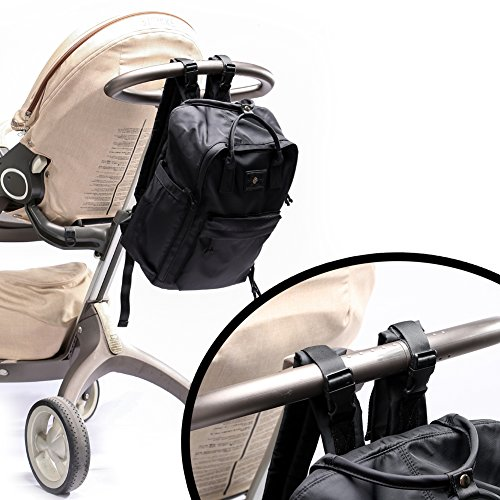Miss Fong bebé pañales mochila para Daddy y madres en resistente al agua correa de nailon con bolsa de cambiador de pañales, toallitas y carrito azul azul negro