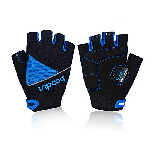 Ezyoutdoor Unisex Cycling Gloves Mountain Bike Gloves Road Racing Bicycle Gloves Light Silicone Gel Pad for Cycling MTB Exercise Skate Skateboard Roller Skating (Blue, Medium)