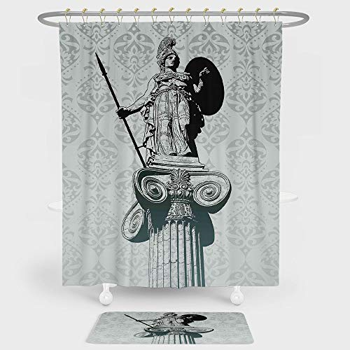 iPrint Sculptures Decor Shower Curtain And Floor Mat Combination Set Statue of Athena on Pillar Baroque Background Ancient Greek Mythology Hellenistic Monument For decoration and daily use Black ()