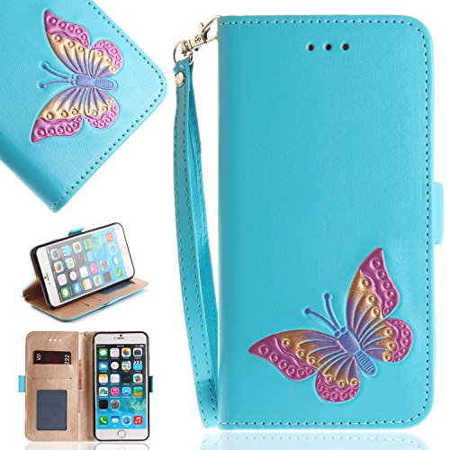 iPhone 6s Plus Case,iPhone 6 Plus,DAMONDY 3D Cute Butterfly Pattern Stand Wallet Purse Card ID Holders Design Flip Cover TPU Soft Bumper PU Leather Magnetic for Apple iPhone 6/6S Plus-sky (Sky Plus Accessories)