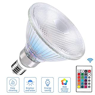 LED Light Bulbs RGB Color Changing 30W 1800 Lumin Waterproof Spotlight Par38, E26 E27 Indoor/Outdoor Remote Control 16 Colors-Changing Lawn Lamp for Room Home Party Bar Decoration