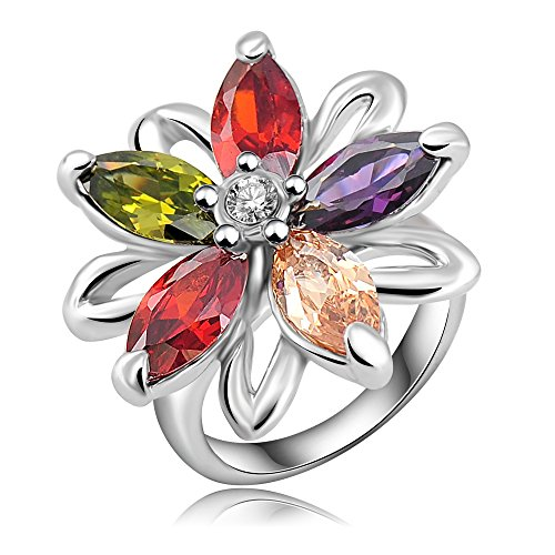 18k White Gold Plated Flower Leaves Multi-color Zirconia Crystal Az0286r Ring (Sizes 8 )