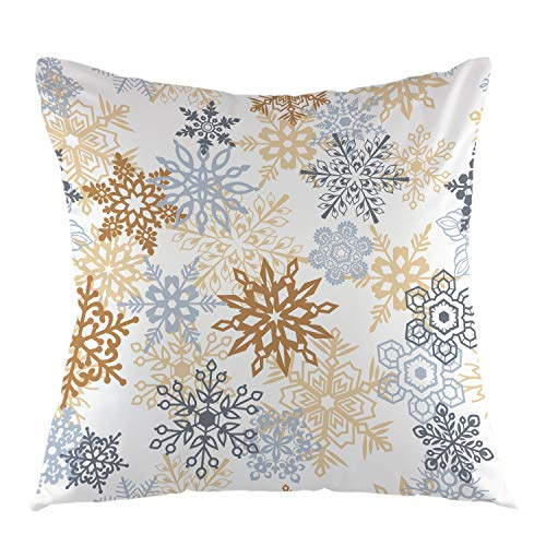 "oFloral Snowflake Decorative Throw Pillow Cover Pillow Case Square Cushion Cover for Sofa Couch Home Car Bedroom Living Room Decor 18"" x 18"" Grey Yellow"