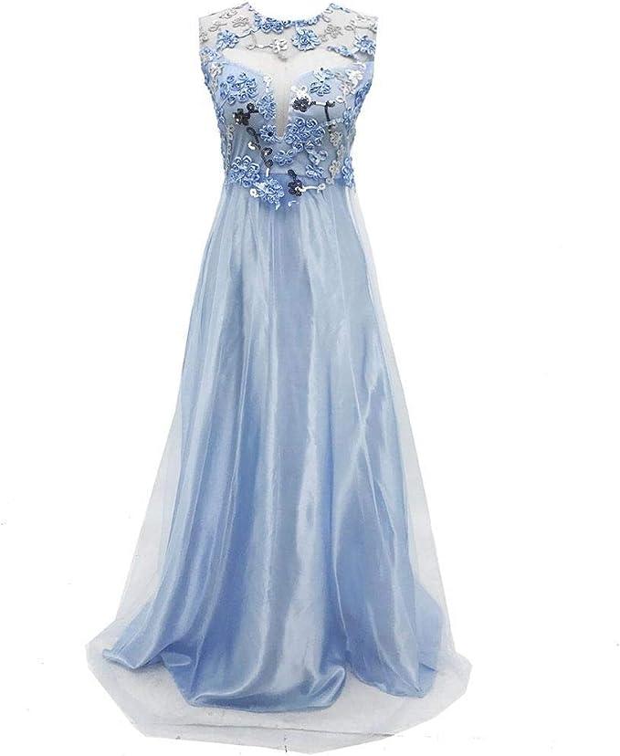 Cioler Damen Kleid Abendkleid Ballkleid Partykleid Freizeitkleid Cocktailkleid Brautkleid Lang Hellblau Elegant Hochzeitskleid Amazon De Bekleidung