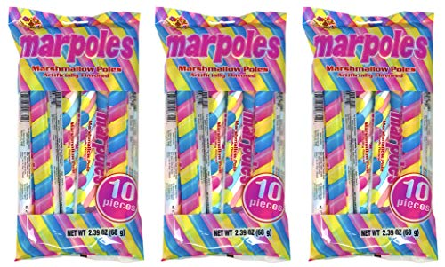 (Marpoles Marshmallow Poles Candy Twist (Pack of 3) - Individually Wrapped Unicorn Party Favors - 30 Marshmallow Treats Total )
