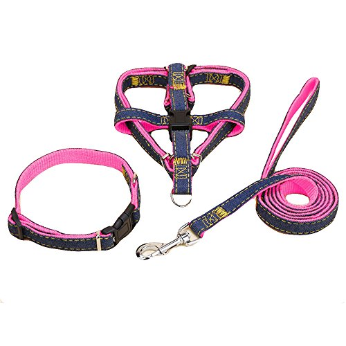 "NOVMAY Set of 3 pcs - Denim Heavy Duty Dog Collar Leash Harness & Traction Rope Leash for Daily Training Walking Running - Small and Large Dog (3 Pcs - Medium (14.58""-21.6"" Chest Girth), Pink)"