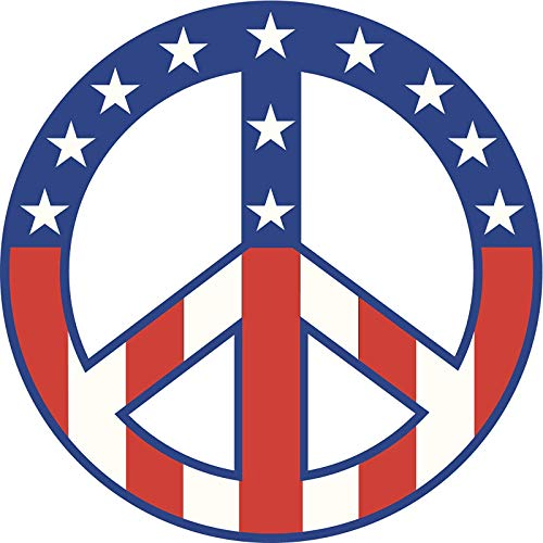(EW Designs American Flag Peace Sing Symbol Stars Stripes RED White Blue Vinyl Decal Bumper Sticker Two in One Pack (4 Inches)
