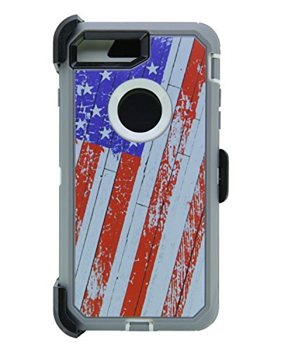WallSkiN Turtle Series Cases for iPhone 7 Plus/iPhone 8 Plus (Only) Full Body Protection with Kickstand & Holster - 52 (American Flag/White)
