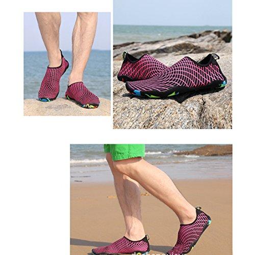 Cool&D Aquaschuhe Aqua Schuhe Wasserschuhe Atmungsaktiv Strandschuhe Schwimmschuhe Badeschuhe Surfschuhe für Damen Herren Kinder Rose