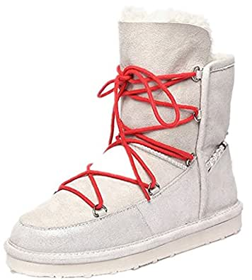 Amazon.com | Winter Sheepskin One Snow Boots Women Plus