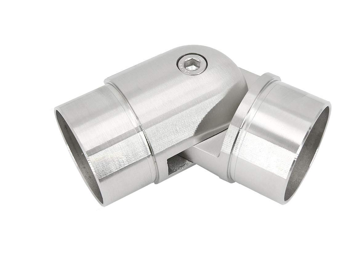 Stainless Steel 316 [Marine Grade] Adjustable Flush Joiner Angel Elbow Connector for 2'' OD (16 Gauge) Round Tube Handrail Fitting, Stain Finished