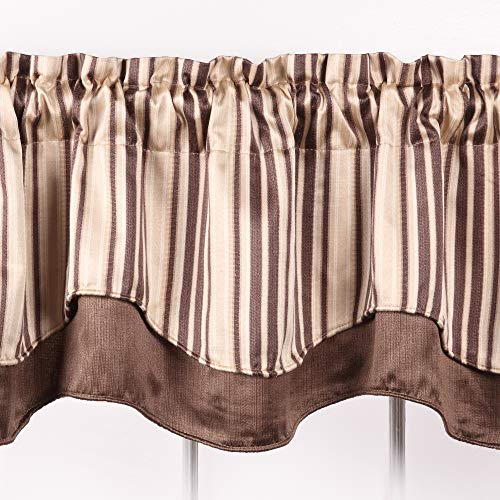 Stylemaster Valance - Windsor Scalloped Layered Valance - BROWN color