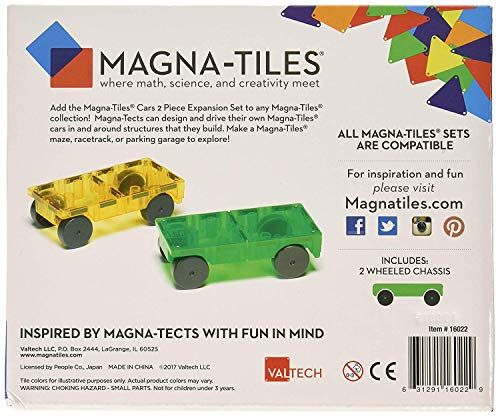 Magna-Tiles 32-Piece Clear Colors Set - The Original, Award-Winning Magnetic Building Tiles - Creativity and Educational - STEM Approved Bundled 2-Piece Car Expansion Set by Magna-Tiles (Image #6)