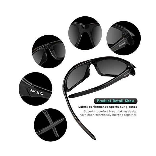 AKASO Polarized Sports Sunglasses, Full PC Frame, UV Protective, Stylish, Lightweight, Unisex for Men and Women