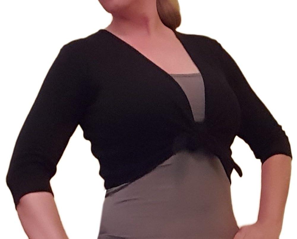 Ballettjacke Wickeljacke Bolero schwarz mit 3/4 Arm für Frauen und Mädchen - 50% Baumwolle 50% Polyester