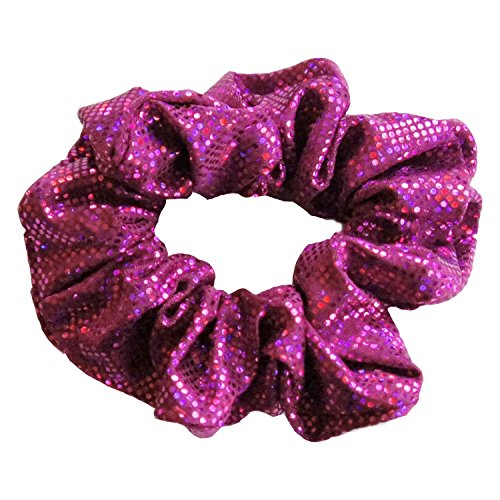 (Solid Stone Fabrics, Inc. Cheer, Gymnastics and Dance Scrunchie - Shattered Glass Hologram - Fuchsia)