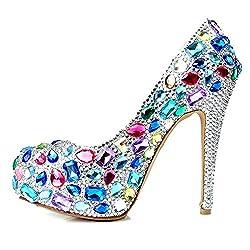 Colored Glass Diamond High Heel Shoe