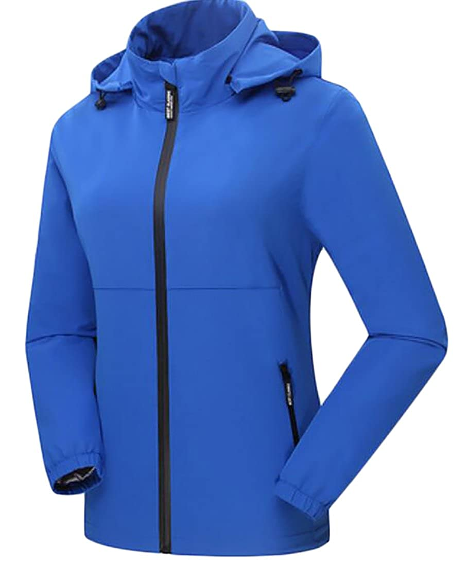 Domple Women 's Winderproof Waterproof Stand Collar Hooded Softshell Jacket