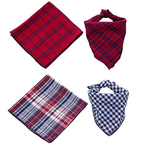 SCENEREAL Pet Dog Bandana Scarf Pack Triangle Bibs Reversible Christmas Plaid Printing Kerchief 2 Pcs/Set Accessories for Small to Large Dogs Cats Pets