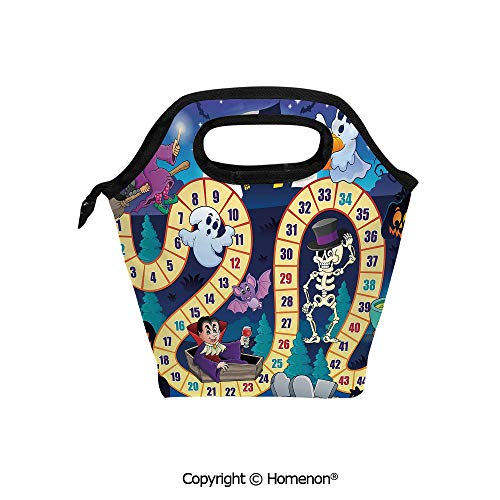 Insulated Neoprene Soft Lunch Bag Tote Handbag lunchbox,3d prited with Halloween Theme Symbols Happy Witch Girl Vampire Pumpkins Happy Comic,For School work Office Kids Lunch Box & Food Container