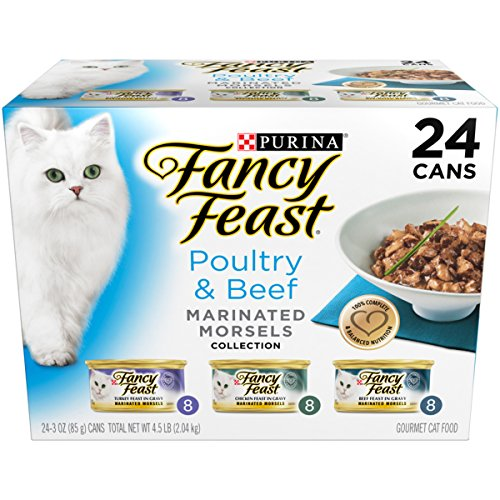 Purina Fancy Feast Poultry & Beef Marinated Morsels Collection Wet Cat Food Variety Pack - Twenty-Four (24) 3 oz. Cans