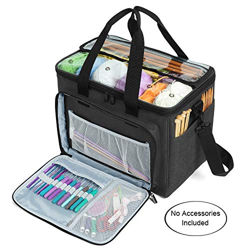 Teamoy Knitting Bag Yarn Tote Organizer with Inner Divider Sewn to Bottom for Crochet Hooks Knitting NeedlesUp to 14quot Project and Supplies Black No Accessories Included
