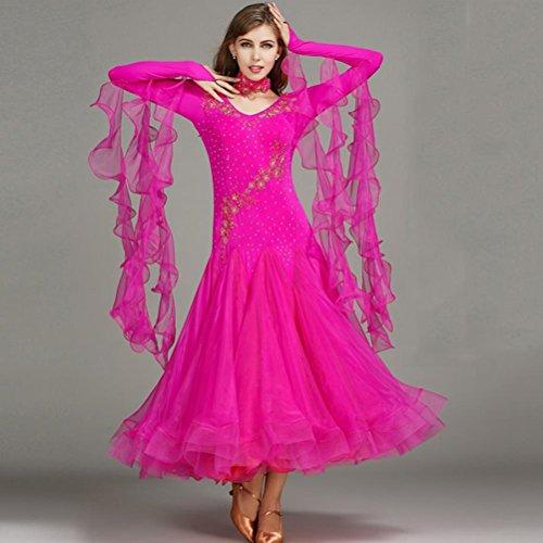 Abiti Ballo Da Pezzo Danza Rose Spandex Donna Wqwlf s Tulle Paillettes Sala Maniche Xl Rhinestones Cristalli 1 Tops Sequined Lunghe Formazione dei WU8BddqxwI