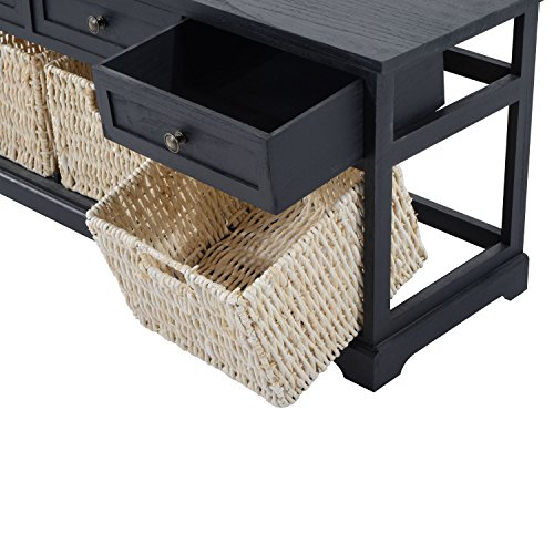 HomCom 40'' 3-Drawer 3-Basket Storage Bench - Antique Black by HOMCOM (Image #6)