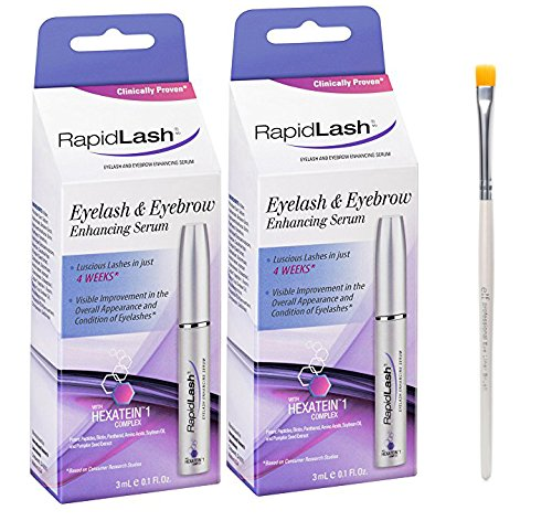 Rapidlash Eyelash and Eyebrow Serum 3ml /0.1 Fl Oz (2 Pack) With FREE Eyeliner Brush