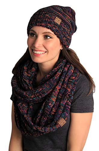 bHS-6100-0641 Oversized Beanie Matching Scarf Set Bundle - Kaleidoscope 4#32 (Womens Hat Scarf Thick Set And)