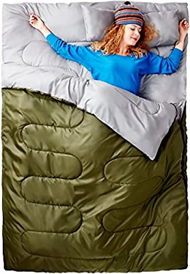Double Sleeping Bag For Backpacking, Camping, Or Hiking.! Best Cold Weather 2 Person Waterproof Sleeping Bag For Adults Or Teens. Truck, Tent, Or Sleeping Pad! Lightweight -Sleepingo
