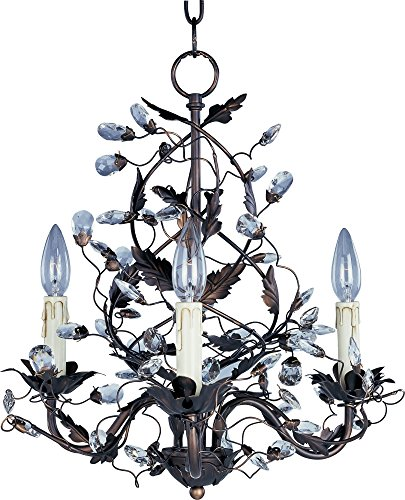 Maxim 2850OI Elegante 3-Light Chandelier Single-Tier Chandelier, Oil Rubbed Bronze Finish, Glass, CA Incandescent Incandescent Bulb , 60W Max., Damp Safety Rating, Standard Dimmable, Glass Shade Material, 672 Rated Lumens