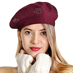Wine-top Rhinestones 2 Layers Wool French Hat