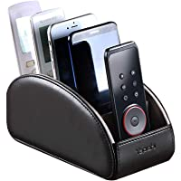 Large Leather TV Remote Control Holder Organizer Black with 5 Compartments Nightstand Desktop Media DVD Player Remote…